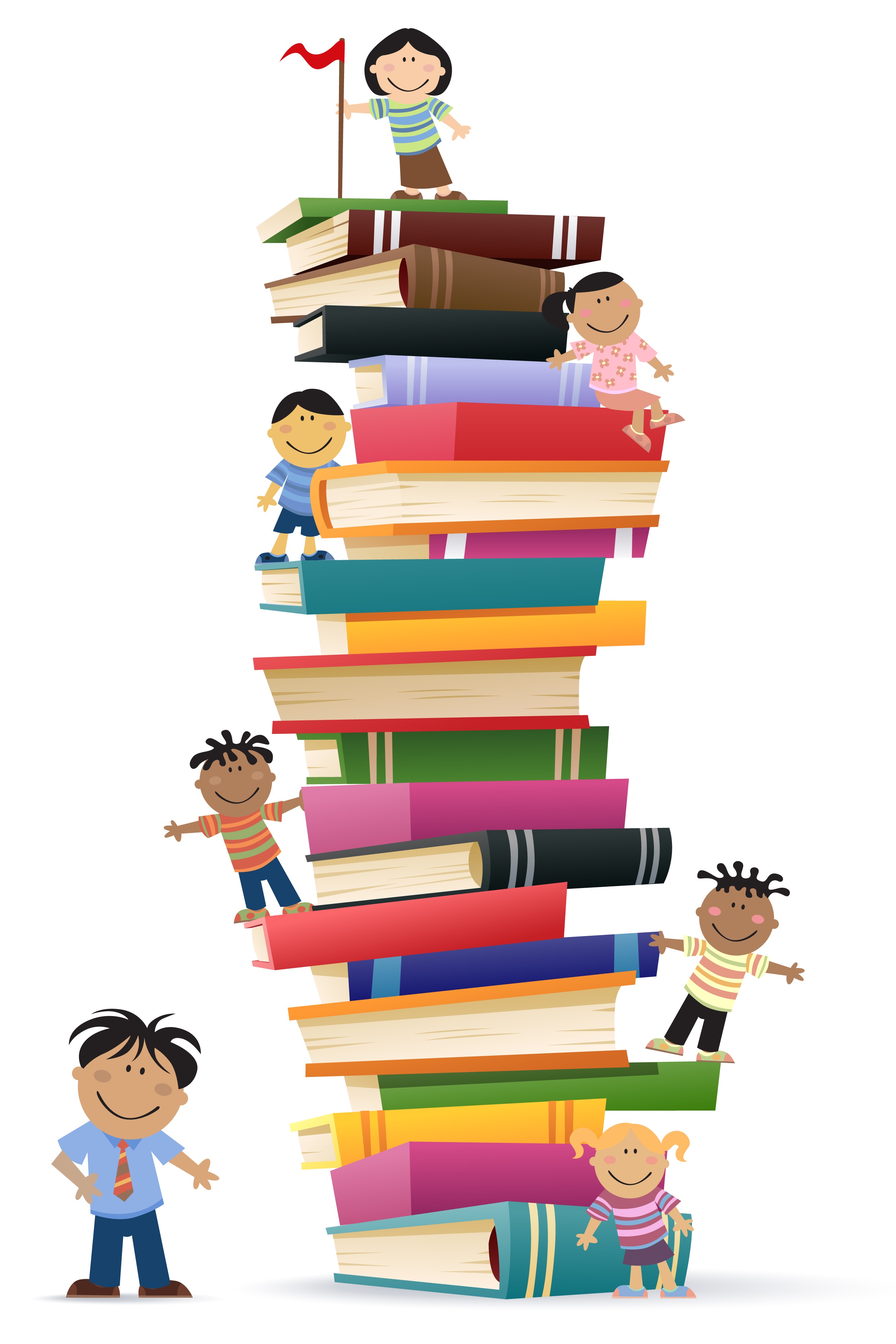 Kids on a pile of books