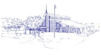Line drawing of the Coal City Public Library District